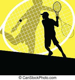 szczegółowy, pojęcie, tenisiści, sylwetka, wektor, il, tło