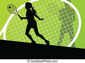 szczegółowy, pojęcie, tenisiści, sylwetka, wektor, tło