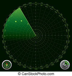szczegółowy, radar, ekran, ilustracja