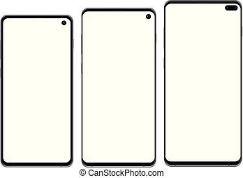 szczegółowy, smartphone, odizolowany, wysoki, realistyczny, komplet, tło, nowy, biały