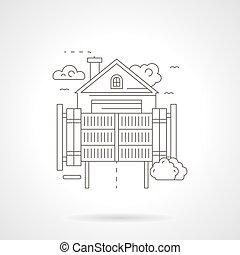 szczegółowy, spokojny, wektor, dom, kreska, bramka, ikona
