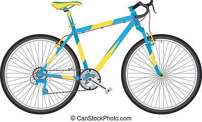 szczegółowy, sport, rower, w, modny, płaski, style., środowiskowo, miejski, pojazd