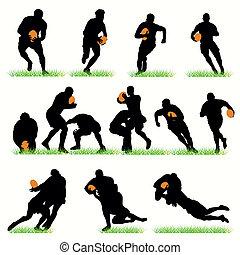 szczegółowy, sylwetka, komplet, rugby