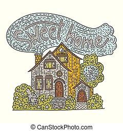 szczegółowy, tytuł, słodki, -, ręka, kraj, chata, pociągnięty, home., doodle