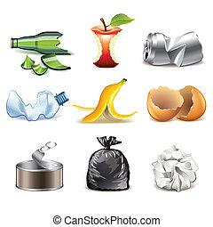 szczegółowy, wektor, komplet, odpadki, ikony