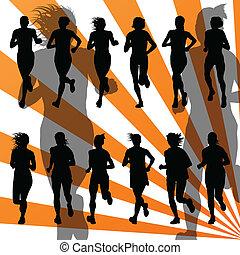 szczegółowy, wektor, maraton, tło, czynny, biegacze