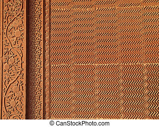 szczegóły, fatehpur, piaskowiec, sikri, rzeźba
