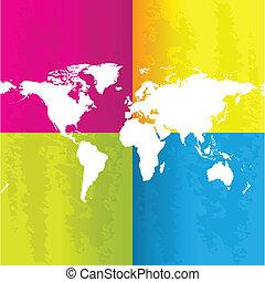 szczególny, abstrakcyjny, tło, z, mapa, od, świat
