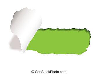 szczelina, rozdarcie, papier, zielony