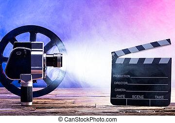 szczelnie-do góry, kołatka, aparat fotograficzny filmu, deska, szpula, film