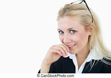 szczelnie-do góry, kobieta handlowa, na, młody, pociągający, tło, portret, biały, okulary