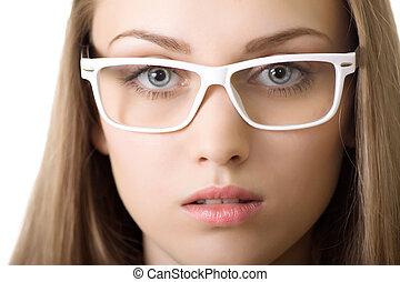szczelnie-do góry, kobieta handlowa, odizolowany, yound, okulary