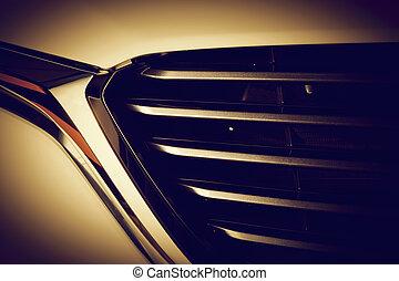 szczelnie-do góry, kosztowny, auto, nowoczesny, wyszczególniając, lekkoatletyka, grille., wóz luksusu