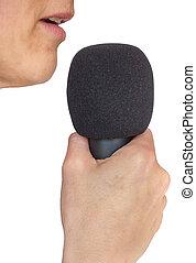 szczelnie-do góry, mikrofon, usta, samica, biały, widok budynku