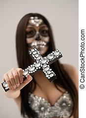 szczelnie-do góry, namiastki kryształu, krzyż, święty, muerte.