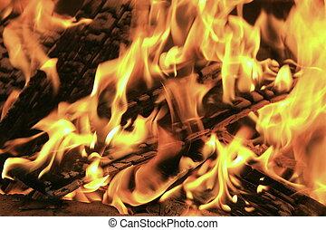 szczelnie-do góry, płonący, ogień