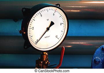 szczelnie-do góry, pipes., nie, system., zero., tło, tłoczna miara, strzała, widać