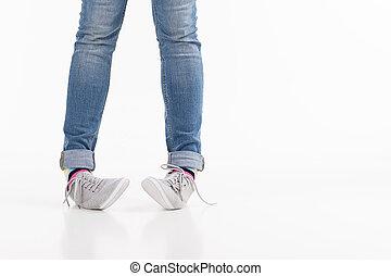 szczelnie-do góry, samica, odizolowany, legs., biały, nogi, obuwie