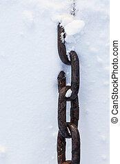 szczelnie-do góry, silny, śnieg, łańcuch