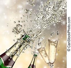 szczelnie-do góry, szampan, wybuch