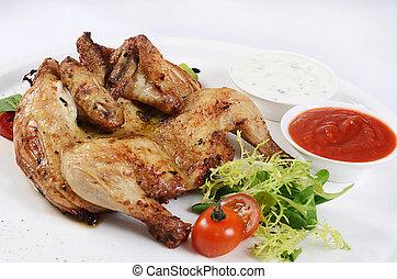 szczelnie-do góry, upieczony, kura, sałata