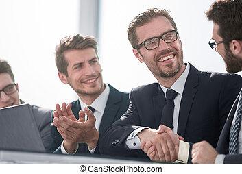 szczelnie-do góry, uzgodnienie, od, handlowy zaludniają, na, niejaki, pracujący, meeting.