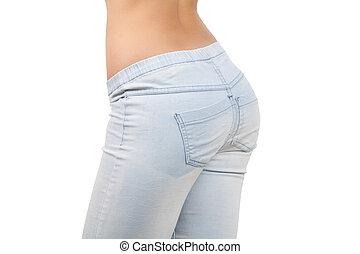 szczelnie-do góry, zad, samica, buttocks., dżinsy, odizolowany, tło, biały
