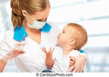 szczepienie, niemowlę, zastrzyk, dziecko, doktor