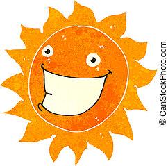 szczerzenie zębów, słońce, retro, rysunek