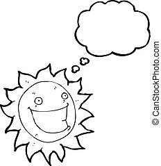 szczerzenie zębów, słońce, rysunek