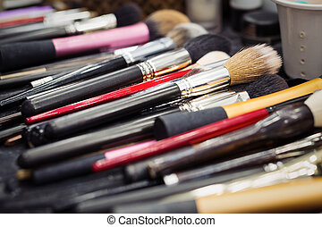 szczotki, makijaż, closeup