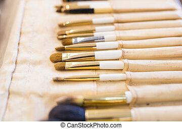 szczotki, makijaż, closeup.
