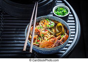 szczypiorek, makarony, zupa, kimchi, twój, cieszyć się