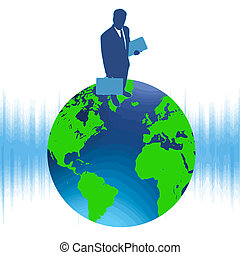 szczyt świata, w, handlowy, wektor
