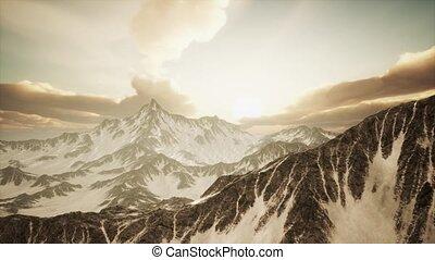 szczyty, promienie, góry, zachód słońca