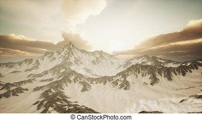 szczyty, promienie, zachód słońca, góry
