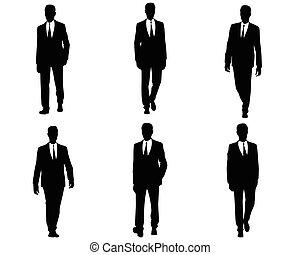 sześć, komplet, biznesmeni