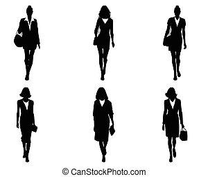 sześć, komplet, businesswomen