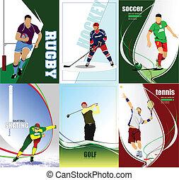sześć, piłka nożna, lód, ho, sport, posters.