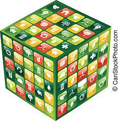 sześcian, ikony, ruchomy, globalny, apps, telefon, zielony