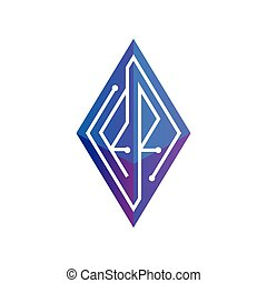 sześcian, rr, łańcuch, mono, początkowy, ukośnik, zawiązywanie, wektor, objazd, litera, logo, kreska, template., kloc, ikona