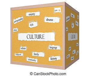 sześcian, słowo, corkboard, kultura, pojęcie, 3d