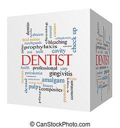 sześcian, słowo, dentysta, pojęcie, chmura, 3d