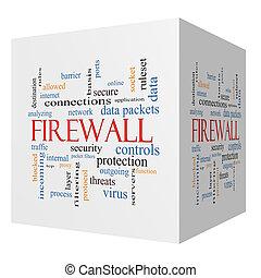 sześcian, słowo, firewall, pojęcie, chmura, 3d