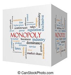 sześcian, słowo, monopol, pojęcie, chmura, 3d