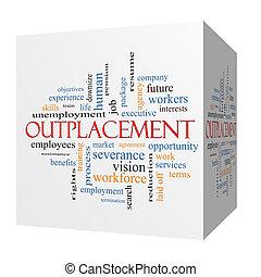 sześcian, słowo, outplacement, pojęcie, chmura, 3d