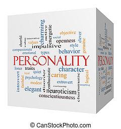 sześcian, słowo, pojęcie, osobowość, chmura, 3d