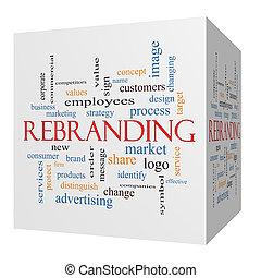 sześcian, słowo, rebranding, pojęcie, chmura, 3d