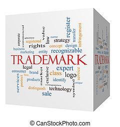 sześcian, słowo, trademark, pojęcie, chmura, 3d
