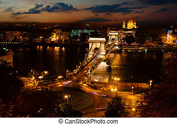 Szechenyi bridge at night